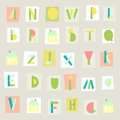 Hand Drawn Trendy Alphabet on light background