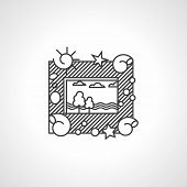 Black line vector icon for picture frame