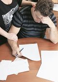 pic of eviction  - A men with financial stress at home - JPG