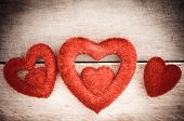 picture of heartfelt  - Three red heart on wooden is beautiful for love - JPG