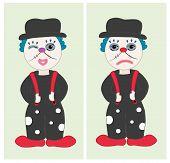 Sad and happy clown