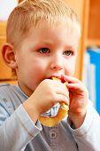 Little Boy Preschooler Eating Apple Peel.