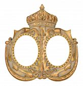 Oval Double Picture Frame with Crown