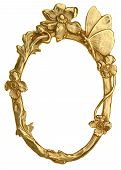 picture of oval  - Oval Gold Picture Frame with Butterfly and flowers isolated on white - JPG