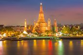 After sunset at Wat Arun temple along