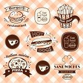 Fast food signs set