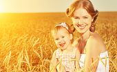 stock photo of mother baby nature  - happy family in summer nature - JPG
