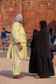 Delhi, India - November 4: Unidentified Women Stand At Qutub Minar Complex On November 4, 2014 In De