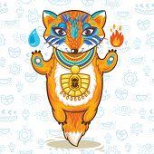 Vector illustration print of a cartoon egyptian fox