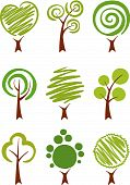 a set of icons trees