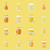 Jars Of Honey. Seamless Backgrond
