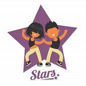 Dance school logo, twosome dancers