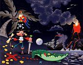 Piratas da ilha durante a noite.