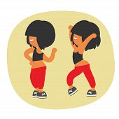 Sporty dancing beautiful teenager girl character