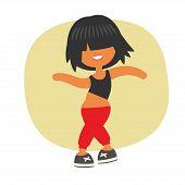 Sporty dancing beautiful teenager girl