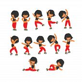 Different poses, sporty dancing girl