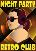 Abstract Retro Poster With A Girl Dj