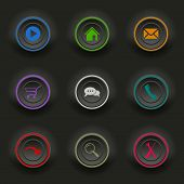 Colored Set Dark Round Buttons For Web Template