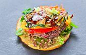 Burger With Grilled Vegetables
