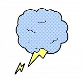 retro comic book style cartoon thundercloud symbol