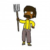 cartoon man with pitchfork