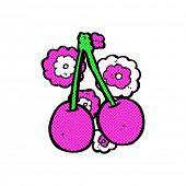 retro comic book style cartoon cherries