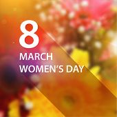 International Women's Day, 8 March. Smooth Background with Flowers, Flat Style Label for Holiday Design.