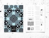 Infographic Vector Illustration with Abstract Geometric Pattern Background. Concrete Texture. Business Template for Flyer, Banner, Placard, Poster, Brochure Design. Graphic Black Ornament and Elements