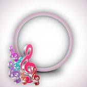 Shiny colorful musical notes with blank rounded frame on stylish background.