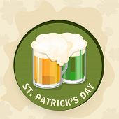 Sticky with orange and green beer for St. Patrick's Day celebrations on vintage background.