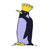 retro comic book style cartoon emperor penguin