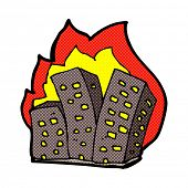 retro comic book style cartoon burning buildings