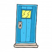 retro comic book style cartoon door