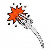 retro comic book style cartoon fork