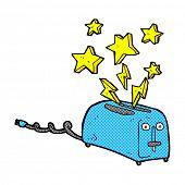 retro comic book style cartoon sparking toaster