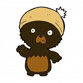 retro comic book style cartoon cute teddy bear in hat