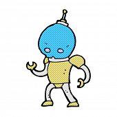 retro comic book style cartoon alien robot