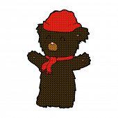 retro comic book style cartoon cute black bear