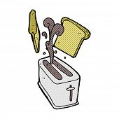 retro comic book style cartoon toaster spitting out bread