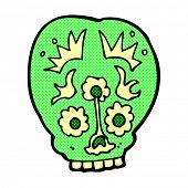 retro comic book style cartoon sugar skull
