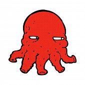 retro comic book style cartoon alien face