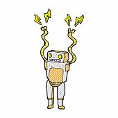 retro comic book style cartoon funny robot