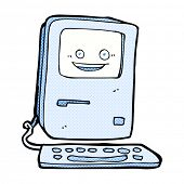 retro comic book style cartoon old computer