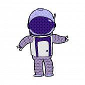 retro comic book style cartoon astronaut