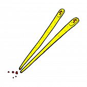 retro comic book style cartoon chopsticks