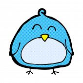 funny retro comic book style cartoon bird