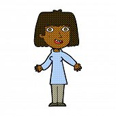 retro comic book style cartoon happy woman