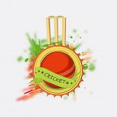 Sticker, tag or label design with red ball and wicket stumps for Cricket.