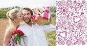 Cute couple going for a picnic with woman kissing boyfriends cheek against valentines pattern