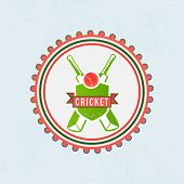 Sticker, badge or label with red ball, bat and winning shield for Cricket sports concept.